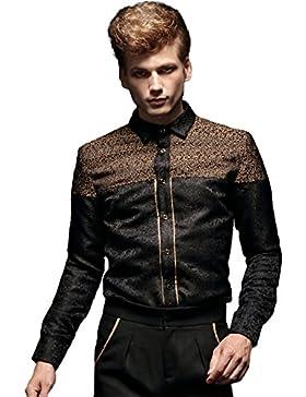 [Sponsorizzato]FANZHUAN Lusso Camicia Flanella Uomo Jacquard Fashion Slim Fit