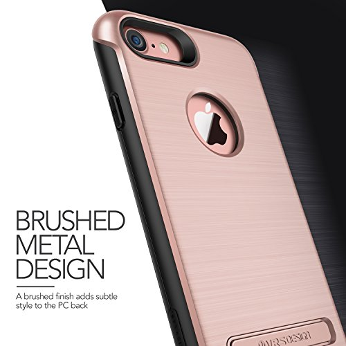 iPhone 7 Hülle, VRS Design [Duo Guard Serie] Schwerlast Militärischer Schutz mit Klappständer für Apple iPhone 7 2016 - Schwarz Rosa Gold