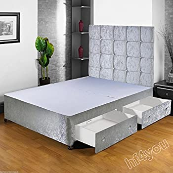 hf4you crushed velvet fabric divan bed base 4ft6 double silver no drawers matching headboard