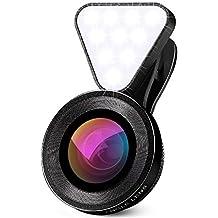 Lentes Para Moviles, 0.4X-0.6X lente Gran Angular + Luz de Relleno (10 Cuentas de LED 3 Niveles de Brillo) + Lente Macro Compatibles con Cámaras Móviles Smartphone y Android, iphone, Huawei