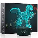 3D Dinosaurier LED Nachtlicht, 7 Farbwechsel Touch Control Dekor Lampe Illusion Nachtlampe Tischlampe USB Powered, für Kinder Familie Ferienhaus Dekoration Weihnachten Geburtstag beste Geschenk