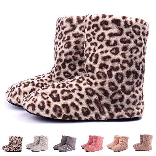 TWINS Fashion « Montreal » weich & warm gefütterte Damen Hütten-Schuhe I Stiefel I Slippers I Fleece Plüsch - Rutschfeste hohe Hausschuhe Winter (38/39, Leopard)