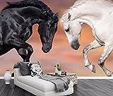 Yosot Benutzerdefiniertes Hintergrundbild White Horse Dark Horse Tv Hintergrund Wand Pferd Zum Erfolg Wohnzimmer Sofa Hintergrund 3D Tapete-250Cmx175Cm
