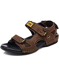 Onfly Verano de los hombres Cuero Casual Sandalias Abierto Antideslizante Playa Zapatos Zapatillas Para caminar Al aire libre Sandalias Zapatos de agua Zapatillas de deporte ocasionales , light brown , 40