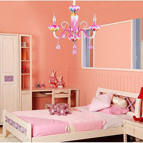 Lustre Simplicité pastorale rose princesse fille chambre chaude chambre enfants lustres en cristal Éclairage décoratifA+ ( taille : 3 -heads )