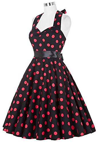 Eudolah Retro Design mid gonna back to 1950 vintage A-Line stile Audrey Hepburn puntino rosso-nero