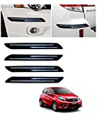 Fabtec Rubber Car Bumper Protector Guard with Double Chrome Strip for Car 4Pcs - Black (Honda Brio)