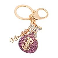 fast-shop Crystal Rhinestone Lucky Bag Keychain Alloy Car Key Ring Christmas Day Gift Purse Handbag Pendant for Women Girls Brown Durable and Practical