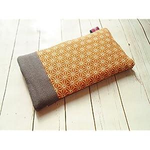 Handytasche Handyhülle Ocker Grau Muster japanisch,maßgefertigt für jedes Handymodell von nelomi