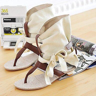 zhENfu Scarpe donna tacco piatto Slingback sandali Office & carriera/abito nero/beige Beige