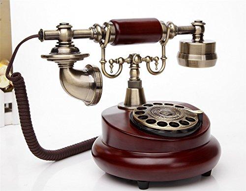Antike Massivholz (Retro-Wählscheibe Telefon,Massivholz Körper,zwei Arten Klingeltöne Auswahl,One-Key-Wahlwiederholung)
