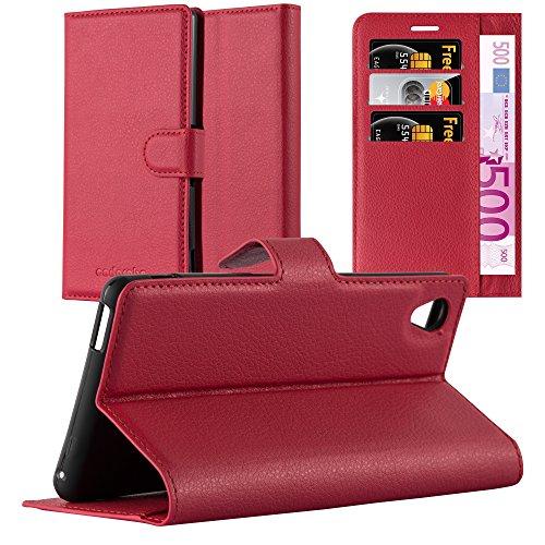 Cadorabo Hülle für Sony Xperia M4 Aqua - Hülle in Karmin ROT – Handyhülle mit Kartenfach und Standfunktion - Case Cover Schutzhülle Etui Tasche Book Klapp Style