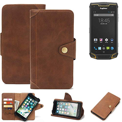 K-S-Trade Handy Hülle für Ruggear RG740 Schutzhülle Walletcase Bookstyle Tasche Handyhülle Schutz Case Handytasche Wallet Flipcase Cover PU Braun (1x)