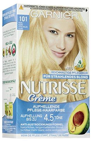 Garnier Haarfarbe (Garnier Nutrisse Creme Coloration Extra Helles Blond 101 Färbung für Haare, 3er Pack (3 x 1 Stück))