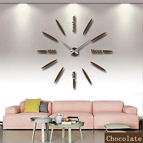 syalex (TM) nuovo limitata orologio al quarzo grande DIY 3d Specchio Adesivo Metallo Orologio da parete arte moderna orologi Home Decoration