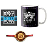 Yaya Cafe Rakhi Gifts Combo For Brother With Rakhi, Have No Fear Brother Is Here Mug, Engraved Wooden Rakhi, Coaster Gift Set Of 3 Birthday