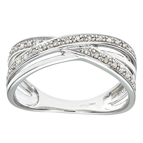 Naava - Anillo para Mujer de Oro Blanco 9K con 36 Diamantes 0.004 ct Talla 14