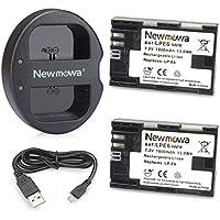 Newmowa LP-E6 Batería de repuesto (2-Pack) y Kit de Cargador Doble para Micro USB portátil para Canon LP-E6, LP-E6N and Canon EOS 5DS R, EOS 5DS, EOS 5D Mark III, EOS 5D Mark II, EOS 6D, EOS 7D, EOS 7D Mark II, EOS 60D, EOS 60Da, EOS 70D