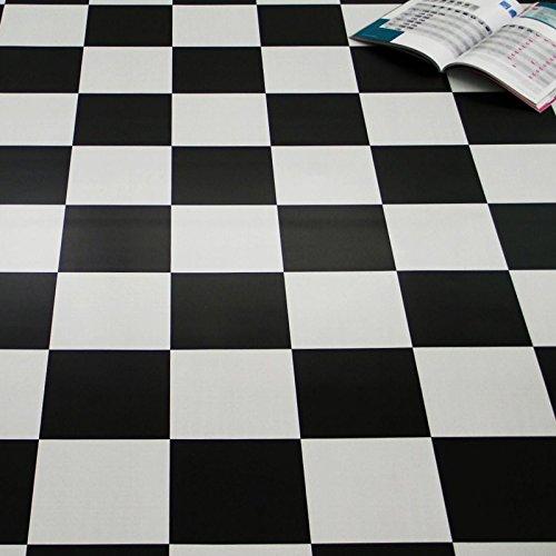 PVC Bodenbelag Schachbrett Schwarz Weiß 2,00 mm (9,50 € p. m²) (Breite: 200 cm x Länge: 100 cm)