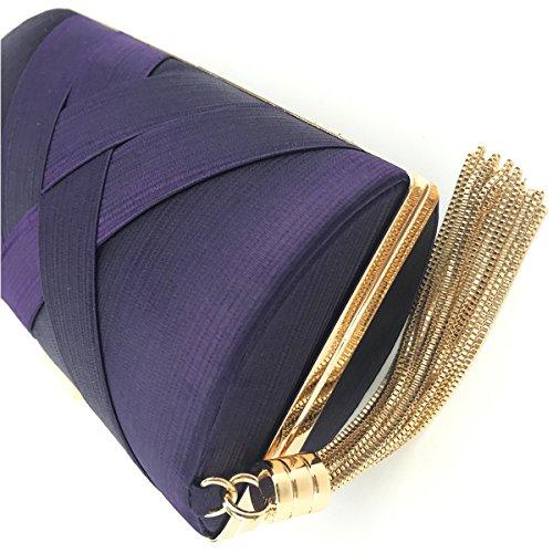 Flada Damen und Damen Satin Abendtaschen Hochzeit Kupplungen Handtaschen mit Quaste Anhänger lila Grau
