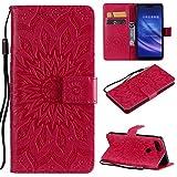 YYhin Schutzfolie für Xiaomi Mi 8 Lite / Mi8 Youth hülle, Cartera Wallet Leder abnehmbare magnetische abnehmbare Tasche mit Flip Schutzhülle Case.(rot)