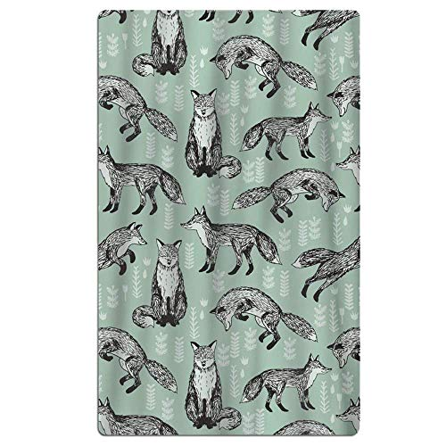 KOPPPUu Fox Mint Green Woodland Animal Microfiber Quick Dry Beach Towel Bath Towel Pool Towel Perfect for Boys ()