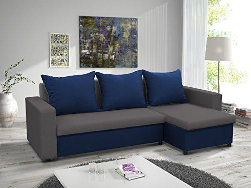 kleines Ecksofa Sofa Eckcouch Couch mit Schlaffunktion und zwei Bettkasten Ottomane L-Form Schlafsofa Bettsofa Polstergarnitur LARS (Grau + Blau, Ecksofa...