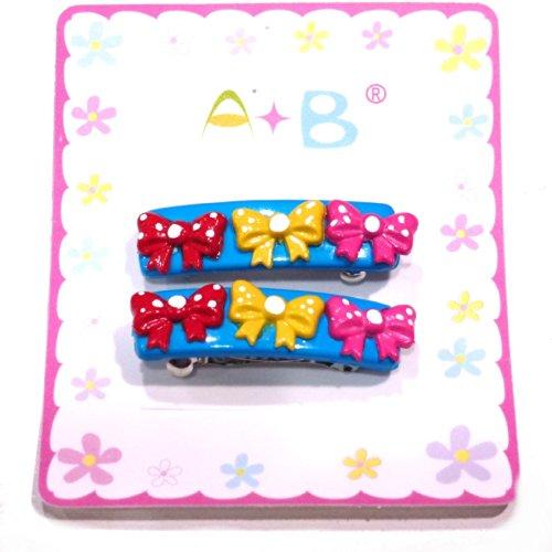 rougecaramel - Accessoires cheveux - Barrette cheveux enfant nœuds 2pcs - bleu