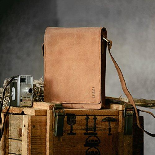 LEABAGS Dover borsa a tracolla vintage in vera pelle di bufalo - CrazyVinkat Marrone