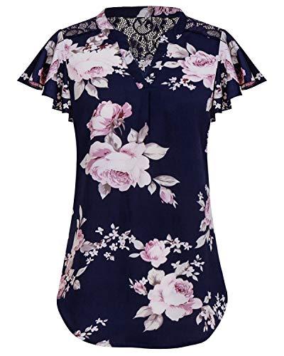 SOLERSUN Blusen für Frauen Work Casual, Damen Rüschen Kurzarm Plus Size Business Bluse V-Ausschnitt Fit Arbeitshemd Dunkel Blau L -
