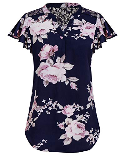 SOLERSUN V-Ausschnitt Tops für Frauen, Damen Chiffon Office Shirts Cuffed Quarter Sleeve Tunika Top Chiffon Blusen für Frauen Dunkel Blau M -