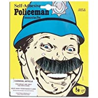 NEW GREY/BLACK MOUSTACHE POLICE MAN FANCY DRESS