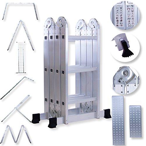 Masko® ALU 6in1 Mehrzweckleiter Anlegeleiter Klappleiter Stehleiter Aluminium, Modell:4x3 Stufen mit Plattform