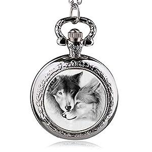 DYH&PW Taschenuhr Quarz taschenuhren Paar Wolf Muster mit fob Kette Geschenk für männer Frauen