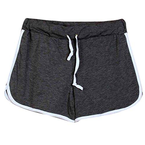 QIYUN.Z Les Femmes a Taille Coulissee Coton Shorts De Plage Sports De Plein Air Occasionnels Pantalons Courts Gris Fonce