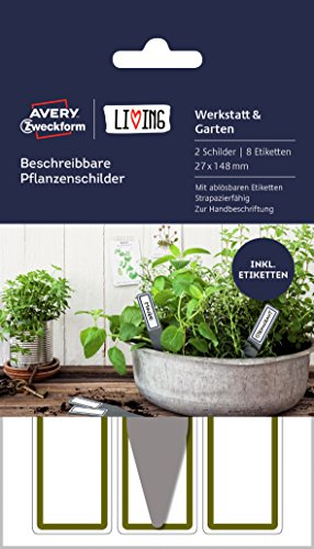 Avery Zweckform 62029 Living - Etiquetas para plantas (27 x 148 mm), color blanco y gris