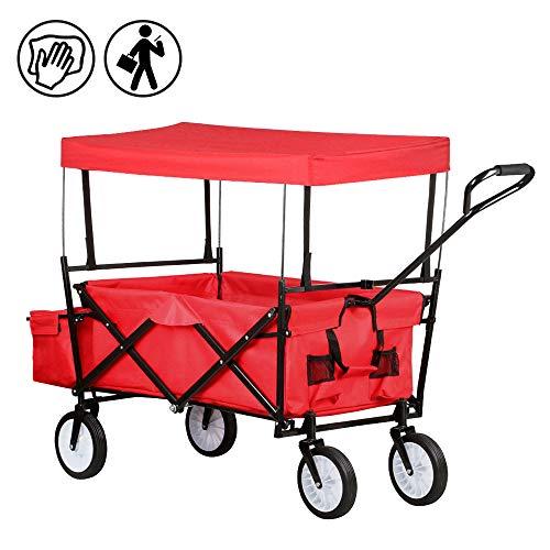 FROADP Faltbarer Bollerwagen mit UV-Schutz-Sonnendach - Handwagen bis 70 Kg 360°Drehbar für Alle Untergründe Geeignet, Rot - Mesh-dach