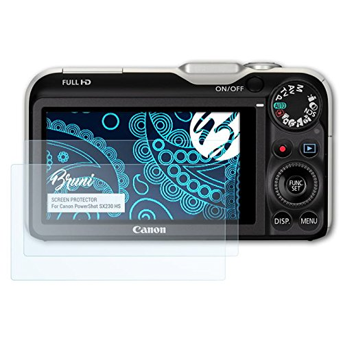 Bruni Schutzfolie kompatibel mit Canon PowerShot SX230 HS Folie, glasklare Displayschutzfolie (2X)