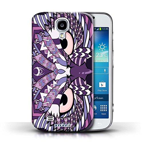 Coque en plastique pour Samsung Galaxy S4/SIV Collection Motif Animaux Aztec - Tigre-Mono Hibou-Pourpre