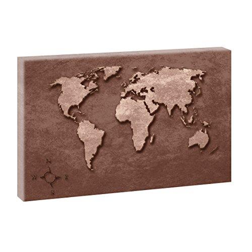 Weltkarte Vintage | Panoramabild im XXL Format | Trendiger Kunstdruck auf Leinwand | Verschiedene Größen und Farben (100 cm x 65 cm, Braun)