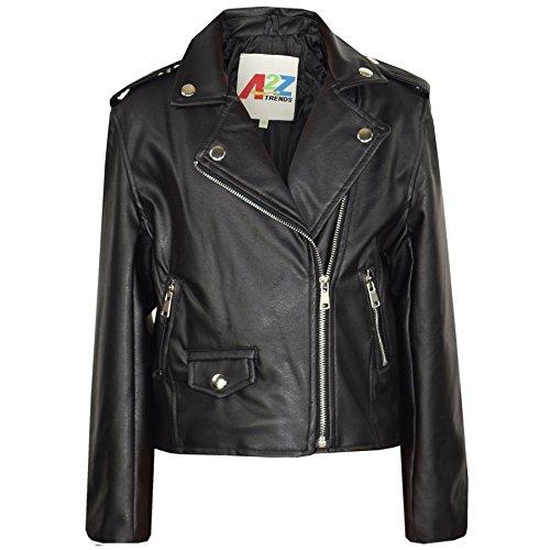 A2Z 4 Kinder Mädchen JACKEN - PU Leather JACKE 460 Schwarz 7-8