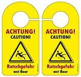 10 Stück Türschild Warnschild ACHTUNG! RUTSCHGEFAHR / CAUTION! wet floor gelb / rot / schwarz (DOPPELSEITIG)