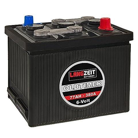 LANGZEIT Oldtimer Batterie 6V 77Ah Autobatterie Starterbatterie 6 Volt 07715