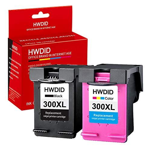 HWDID Remanufacturados HP 300XL 300 Cartuchos de tinta Pack de 2 Negro/Tricolor para HP DeskJet D1660 D2560 D2660 D5560 F2480 F4224 F4280 F4580,HP PhotoSmart C4680 C4780 C4670 C4600 HP Envy 100 110