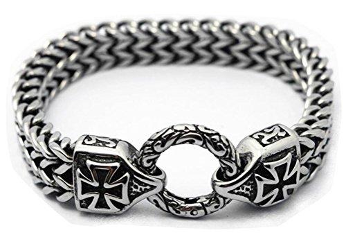 Chomay Herren Titanstahl Armband Francokette Armkette Vintage Motorrad Eisernes Kreuz Ritterkreuz...