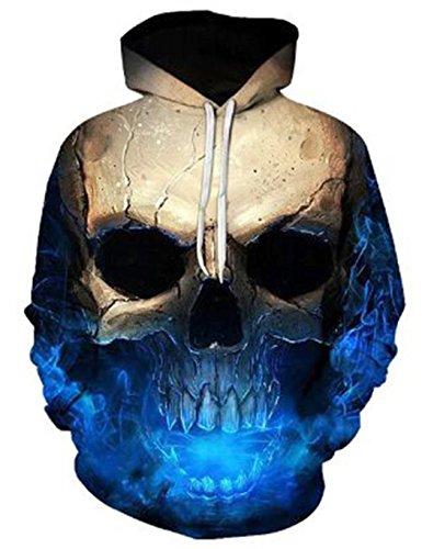 Herren 3D Druck Hoodie, SummerRio Kapuzenpullover Sweatshirt 3D Aufdruck Unsiex Wolf/Schädel Langarm mit Kapuze Tasche, Mehrfarbig (Typ1 Schädel), Gr. 3XL