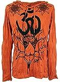 Guru-Shop Sure Langarmshirt, Kapuzenshirt Lotus Om, Herren, Rostorange, Baumwolle, Size:XL, Bedrucktes Shirt Alternative Bekleidung