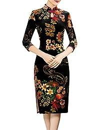 Azbro Mujer Vintage Vestido Ajustado Estampado Floral Estilo de Cheongsam