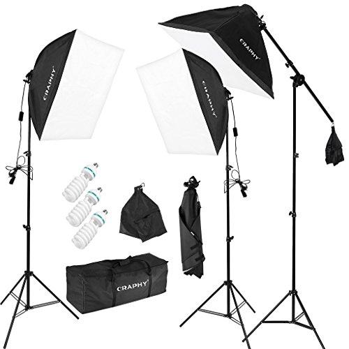 CRAPHY Softbox - Kit Iluminación de Estudio Fotografía-3 Soporte Luz Continua+3 Bombilla 5500K con Enchufe