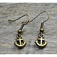 Ohrringe mit Mini Anker bronze z